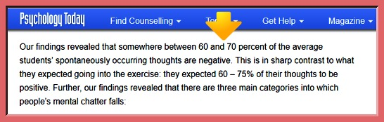 How do I stop negative thoughts: realize you're not the only one, on the image the results of a research conducted by psychologists shows that 60 and 70 percent of the average students' spontaneously occurring thoughts are negative (Source: Psychology Today)