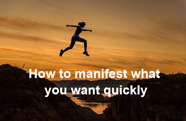 How to manifest what you want quickly: a woman is jumping over the hills